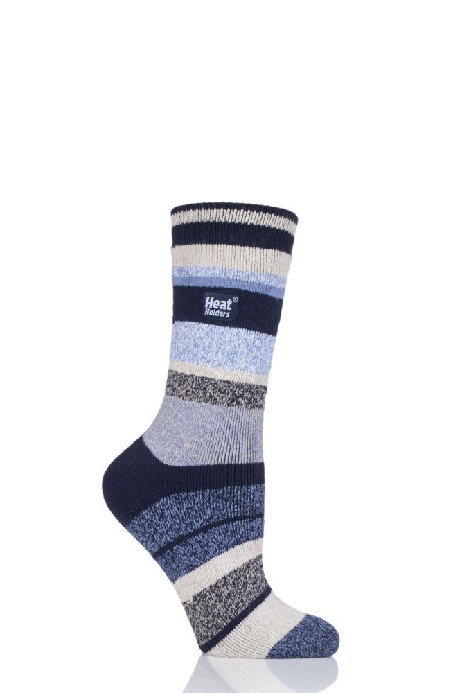 Ladies 1 Pair Heat Holders 1.6 TOG Lite Stripe Socks