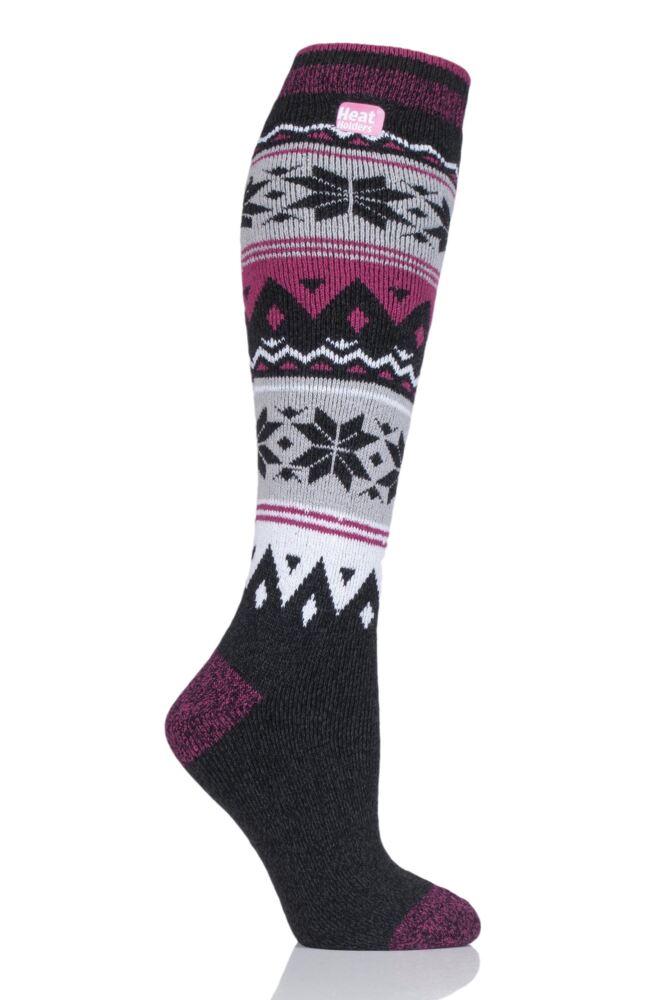 Ladies 1 Pair Heat Holders 1.6 TOG Lite Patterned and Striped Knee High Socks