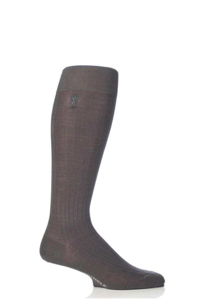 Mens 1 Pair Pringle of Scotland 100% Mercerised Cotton Rib Knee High Socks