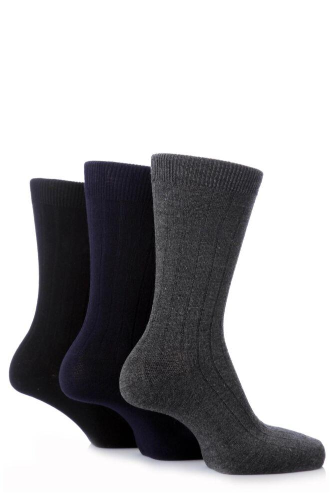 Mens 3 Pair Pringle Of Scotland Classic Bamboo Rib Socks