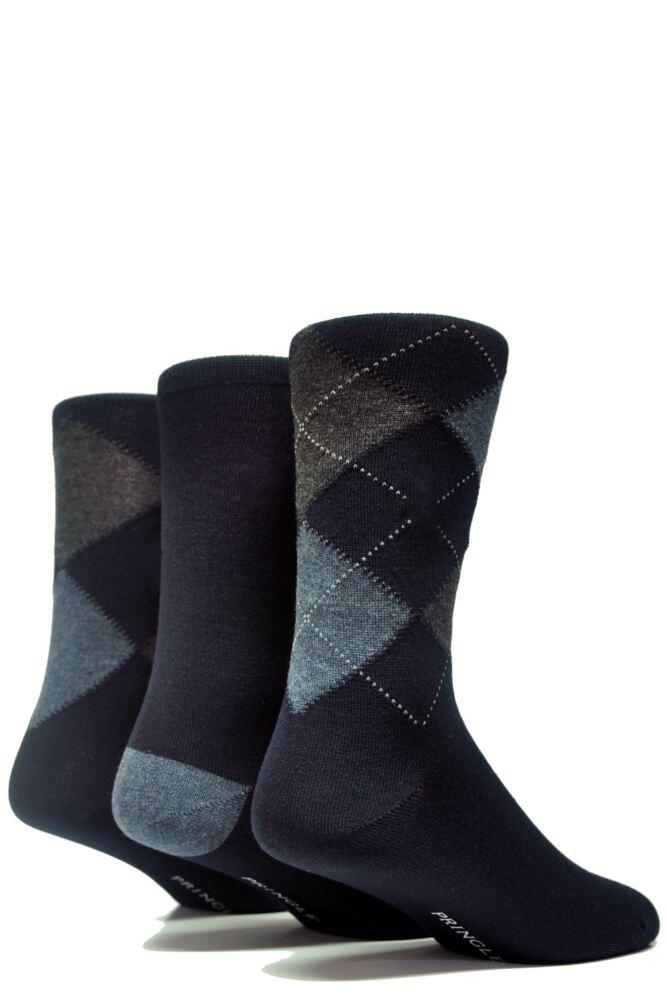 Mens 3 Pair Pringle Classic Bamboo Argyle Socks