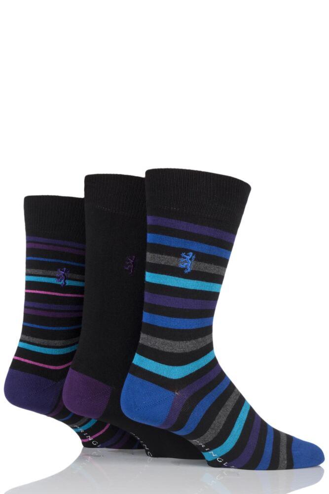 Mens 3 Pair Pringle of Scotland Mixed Stripe and Plain Bamboo Socks