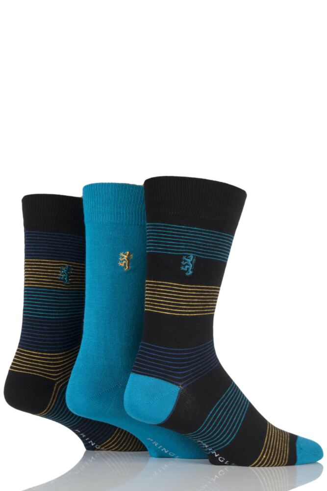 Mens 3 Pair Pringle of Scotland Plain and Fine Striped Bamboo Socks