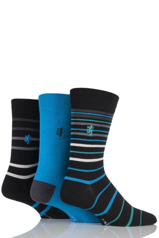 Mens 3 Pair Pringle of Scotland Varied Striped and Plain Bamboo Socks