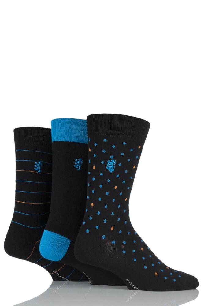 Mens 3 Pair Pringle of Scotland Plain, Spotty and Striped Bamboo Socks