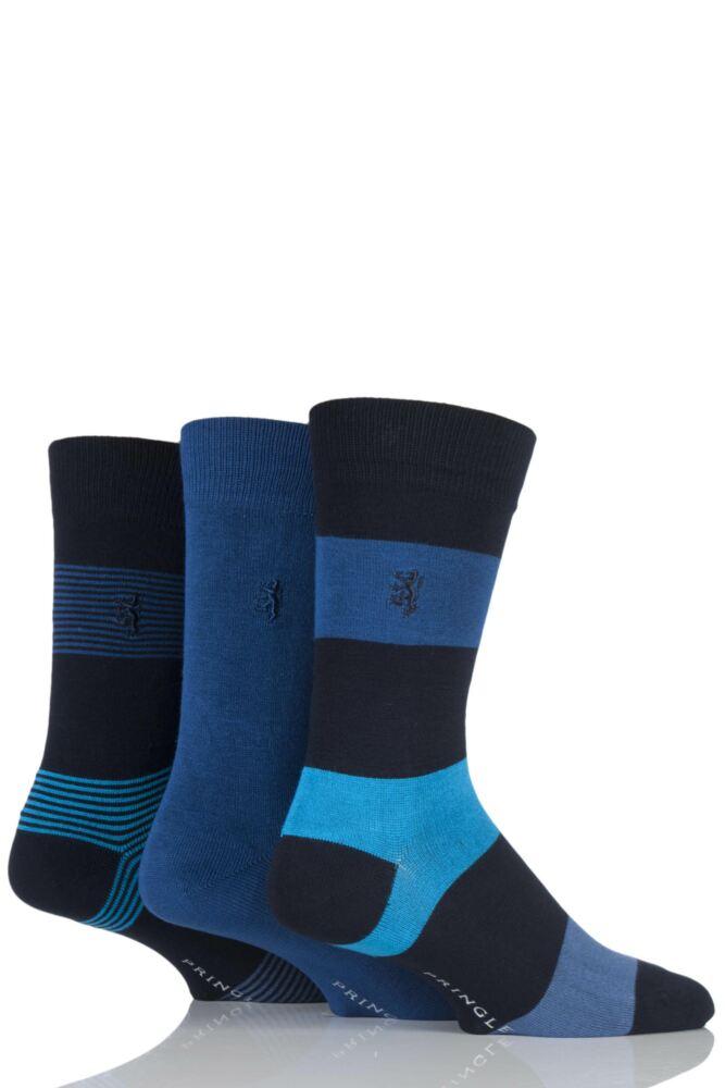 Mens 3 Pair Pringle of Scotland Plain, Fine Striped and Block Striped Bamboo Socks