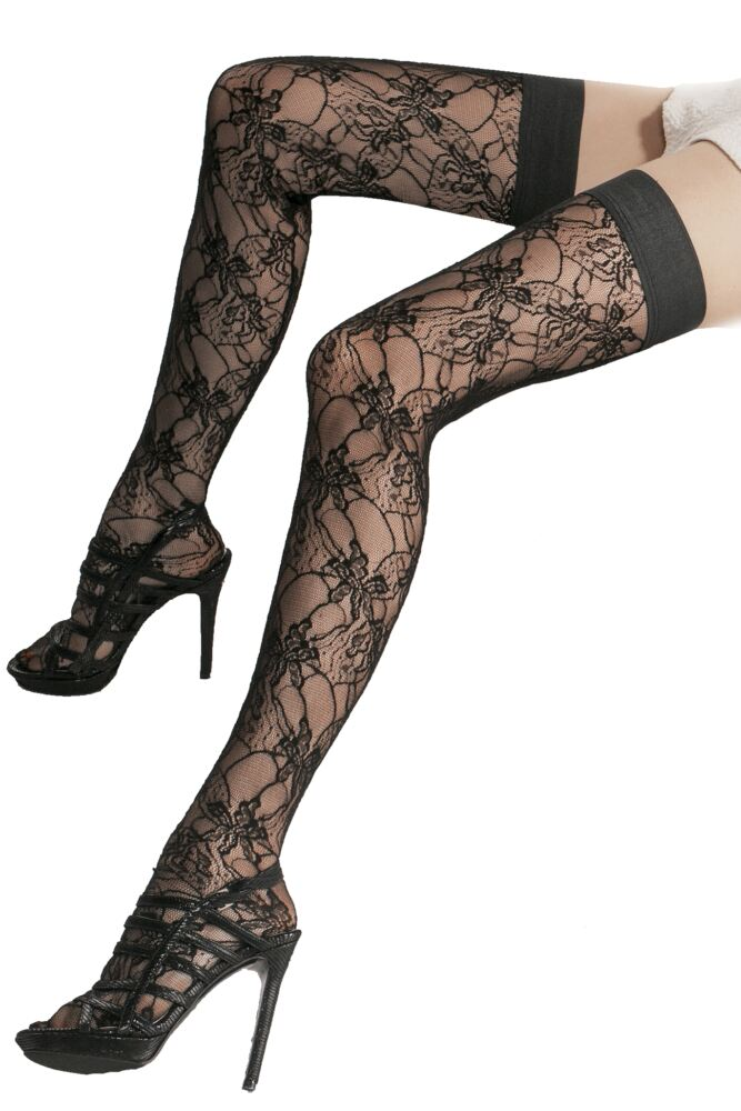 Ladies 1 Pair Trasparenze Marbled Floral Net Hold Ups 25% OFF