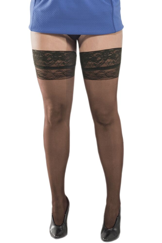 Ladies 1 Pair Trasparenze Curvy Margherita Sheer Hold Ups with Lace Top 50% OFF