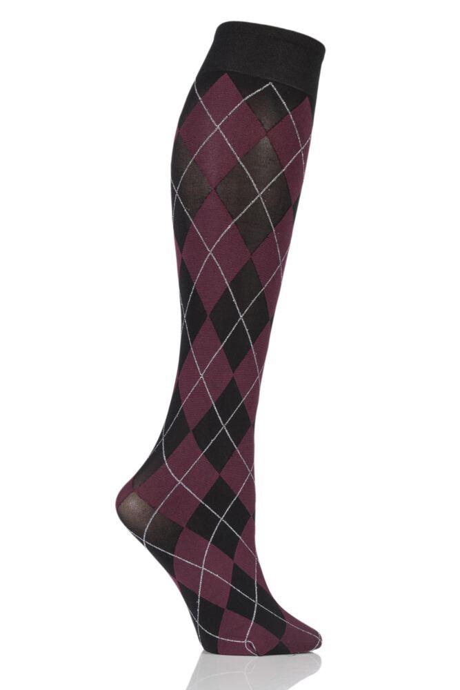 Ladies 1 Pair Trasparenze Menfi Large Argyle Knee High Socks