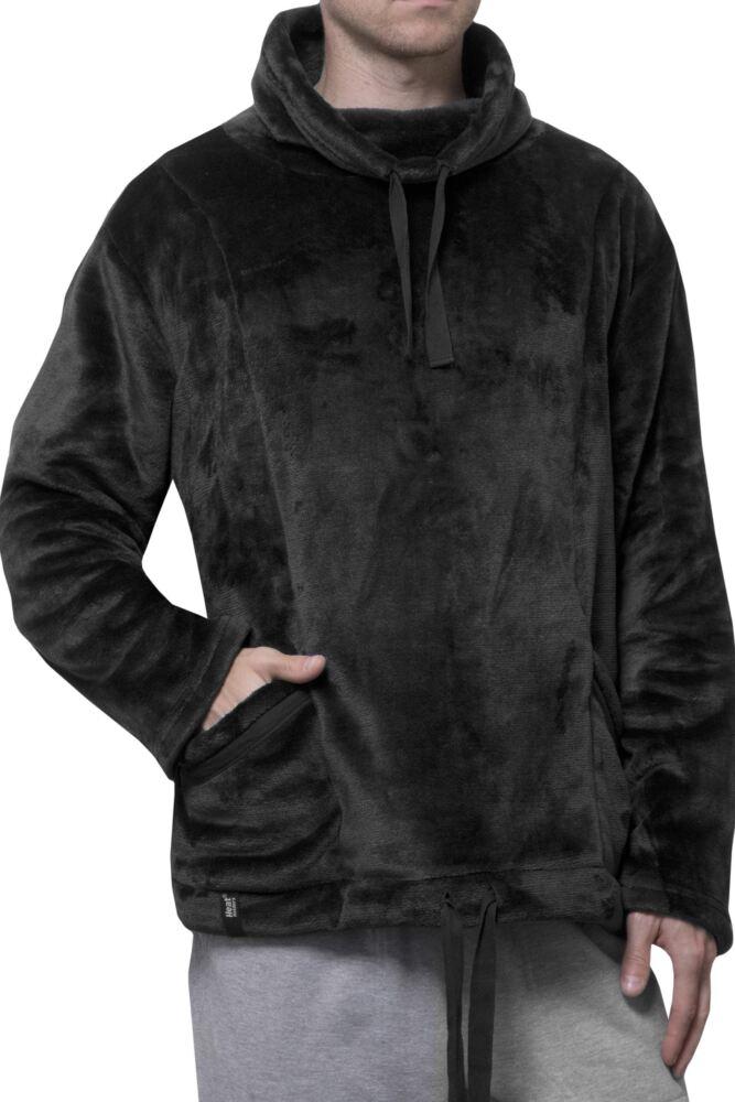 Mens SockShop Heat Holders Snugover Fleece Jumper In Black