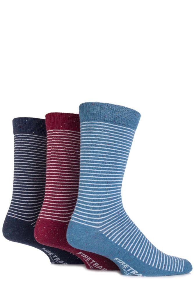 Mens 3 Pair Firetrap Fine Striped Cotton Dress Socks