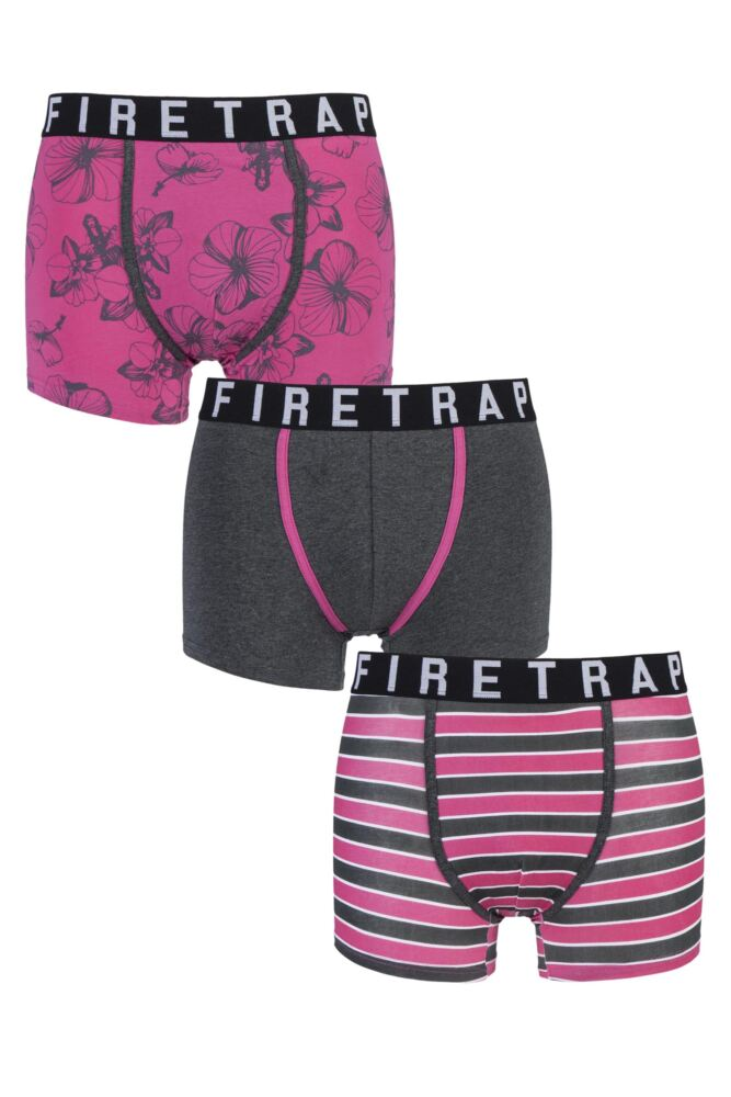 Mens 3 Pack Firetrap Hawaii Floral, Plain and Striped Boxer Shorts