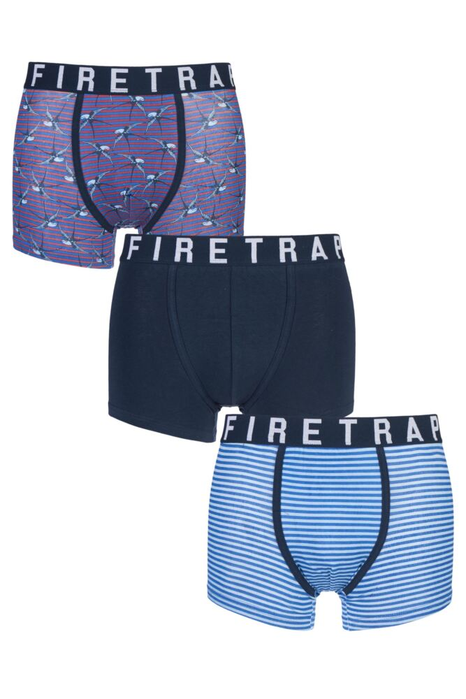 Mens 3 Pack Firetrap Swallow, Plain and Striped Boxer Shorts 25% OFF