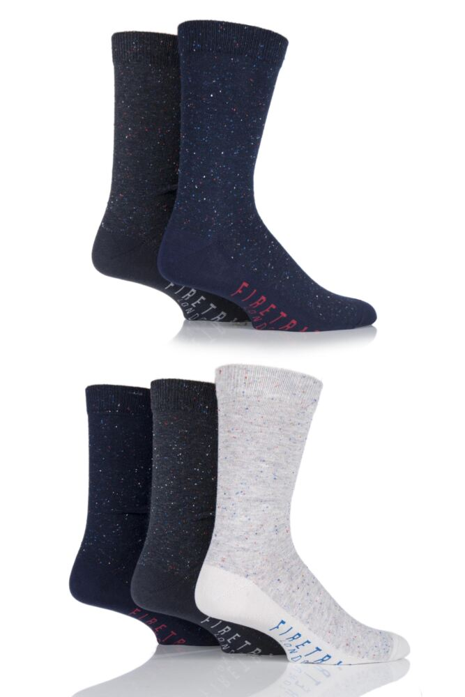 Mens 5 Pair Firetrap Marl Cotton Dress Socks