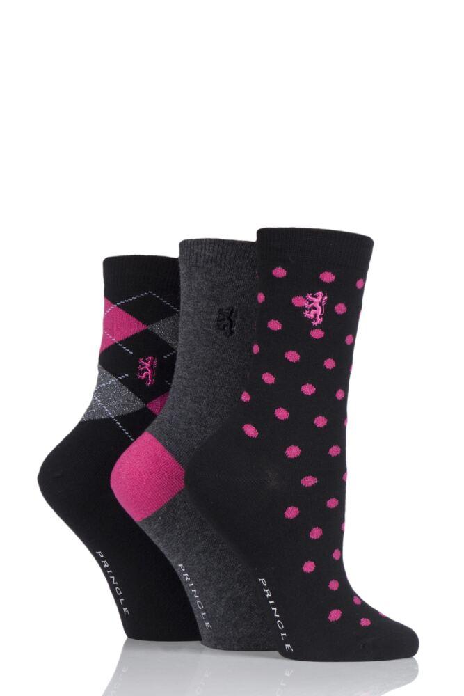 Ladies 3 Pair Pringle of Scotland Argyle, Plain and Spot Socks In Gift Box