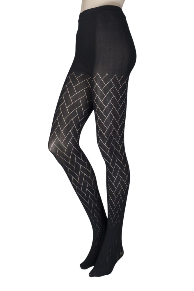 Ladies 1 Pair Couture by Silky Ultimates Seamless and Ladder Proof Geometric Opaque Tights