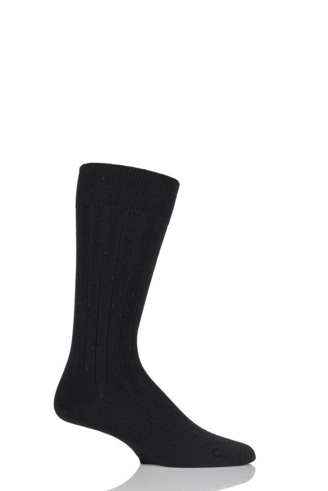 Mens 1 Pair John Smedley Omega Plain Ribbed Socks