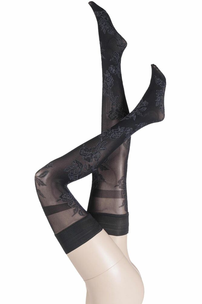Ladies 1 Pair Trasparenze Oro Floral Hold Ups with Banded Top 25% OFF