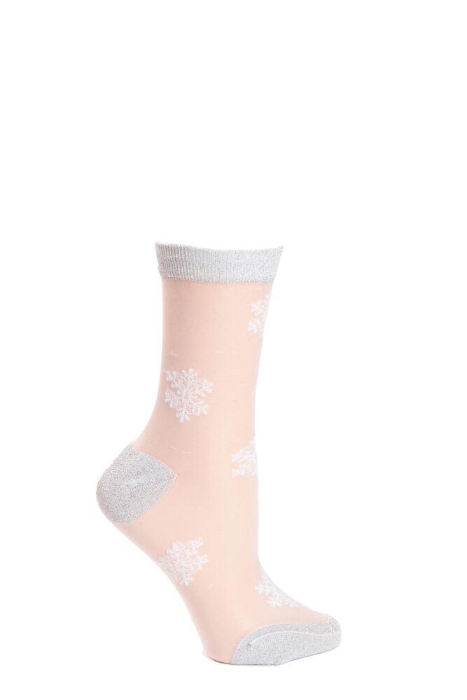 Ladies 1 Pair SockShop Talk Becky Talk Sheer Snowflake Ankle Socks with Lurex Heel and Toe