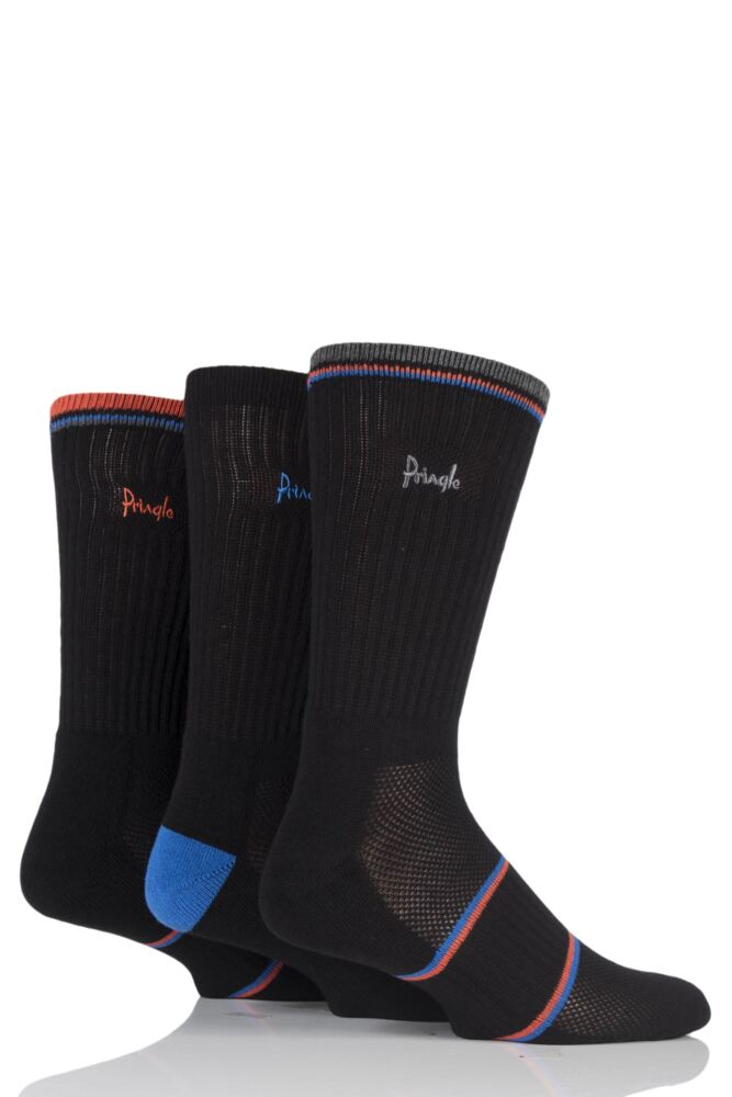 Mens 3 Pair Pringle Sport Socks with Arch Support and Venting