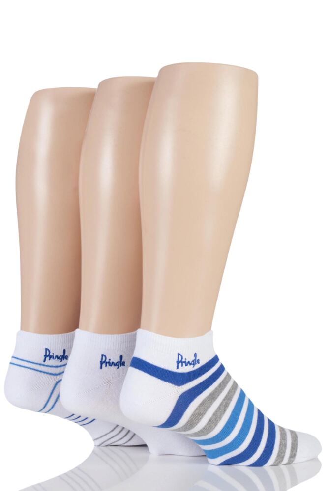 Mens 3 Pair Pringle Plain and Mixed Striped Cotton Secret Socks