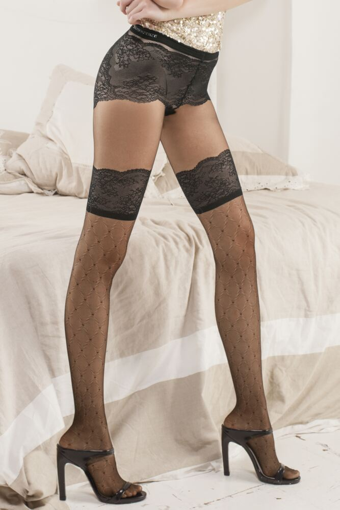 Ladies 1 Pair Trasparenze Pafia Mock Suspender Tights with Knickers