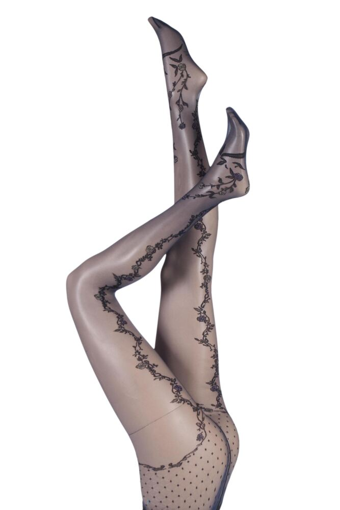 Ladies 1 Pair Trasparenze Paradise Floral Back Seamed Tights with Foot Decoration