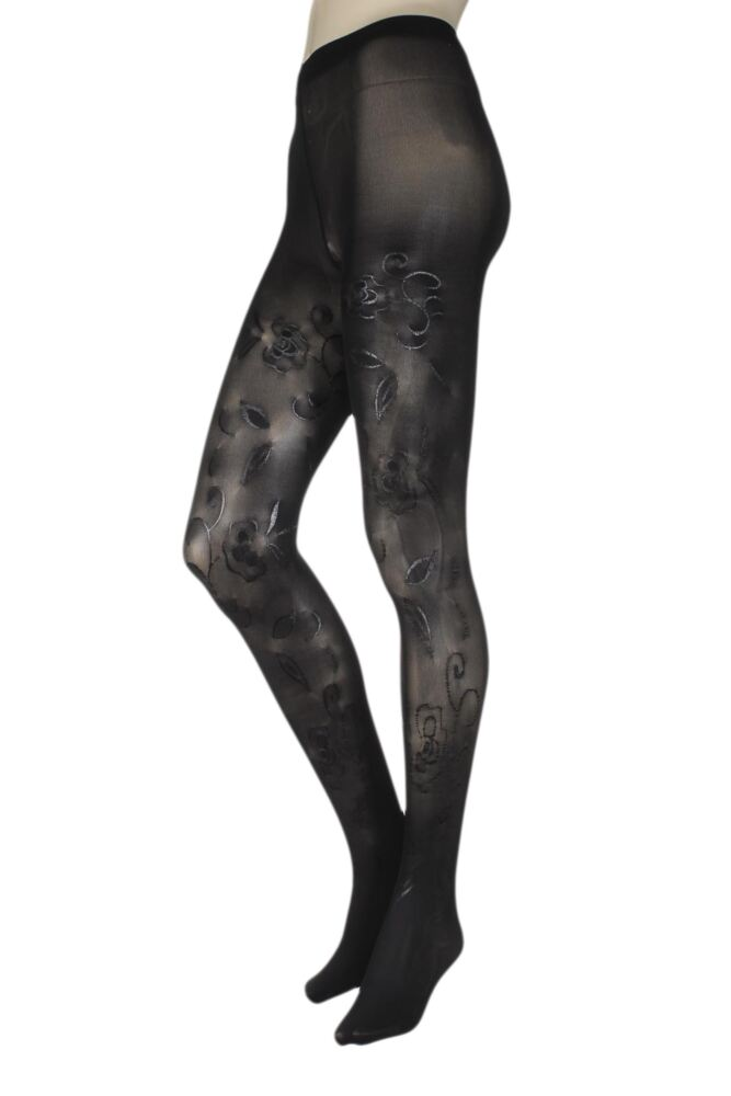 Ladies 1 Pair Trasparenze Petra Floral Tattoo Opaque Tights