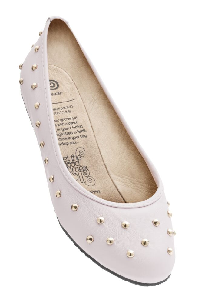 Ladies 1 Pair Rollasole Deluxe Range Pink Punk Studded Shoes