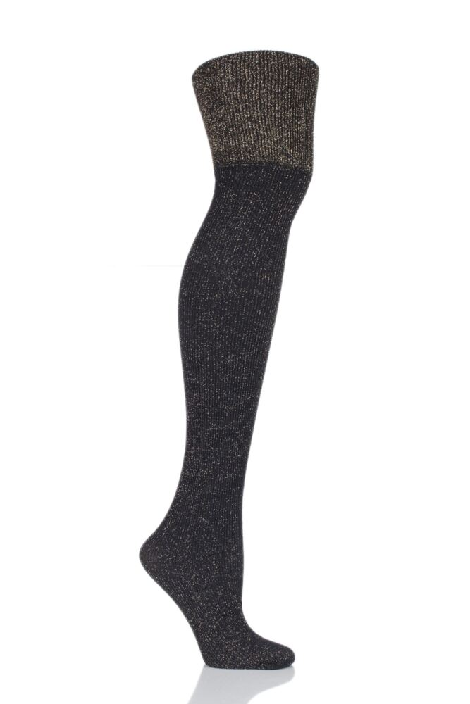 Ladies 1 Pair Pretty Polly Sparkle Rib Over the Knee Socks