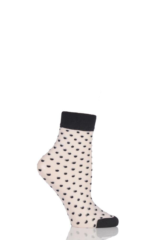Ladies 1 Pair Pretty Polly Sheer All Over Spotty Pop Socks