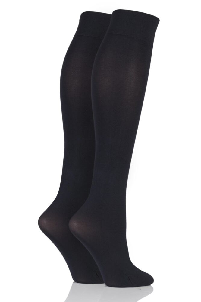 Ladies 2 Pair Pretty Polly 60 Denier Opaque Knee Highs with 3D Stretch Technology