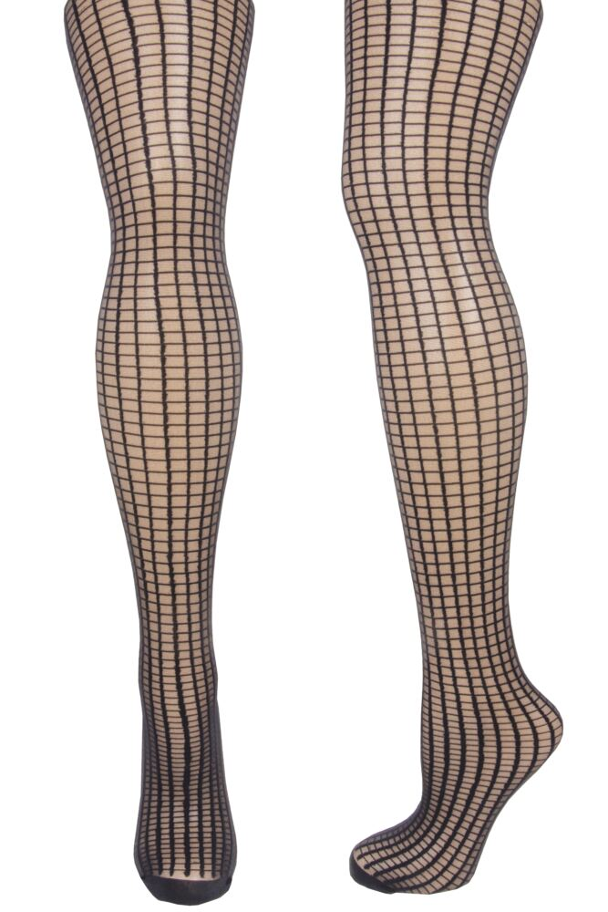 Ladies 1 Pair Pretty Polly Patterns Simple Grid Bodyshaper Tights 25% OFF