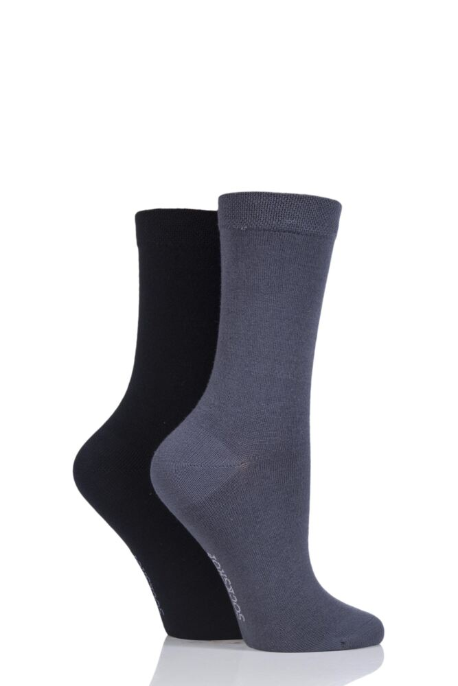 Ladies 2 Pair SockShop Plain Bamboo Socks