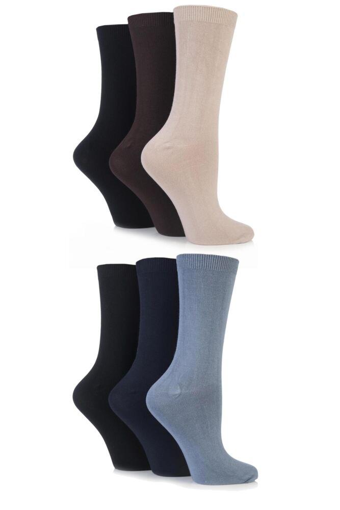 Ladies 6 Pair SockShop Plain Bamboo Socks