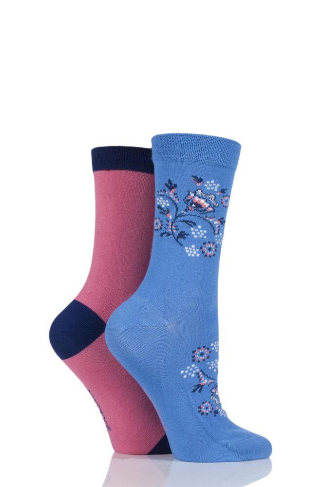 Ladies 2 Pair SockShop Patterned Bamboo Socks