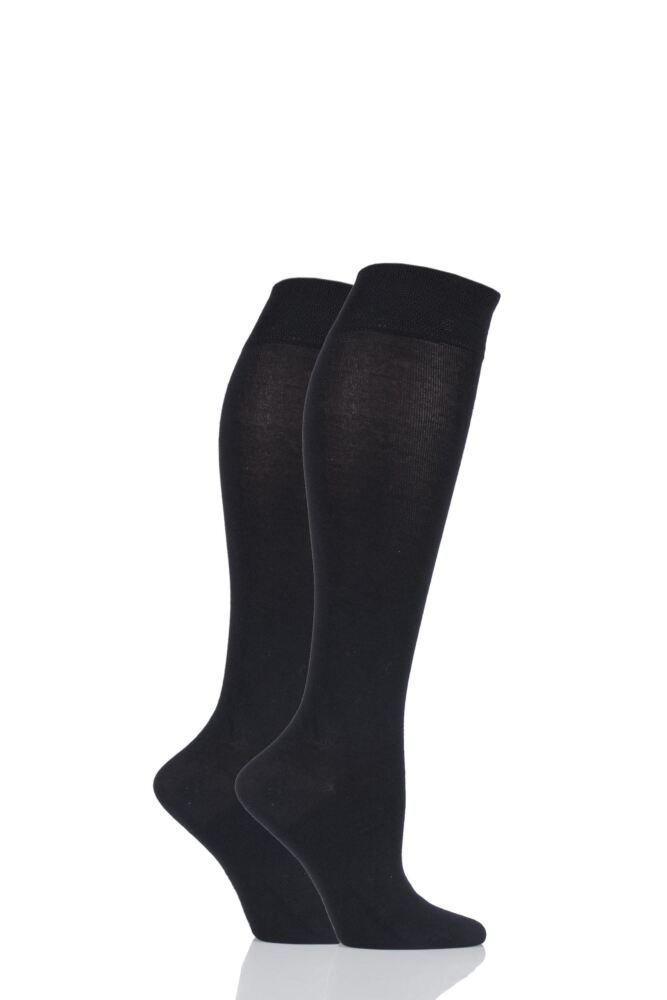 Ladies 2 Pair Sockshop Plain Bamboo Knee High Socks