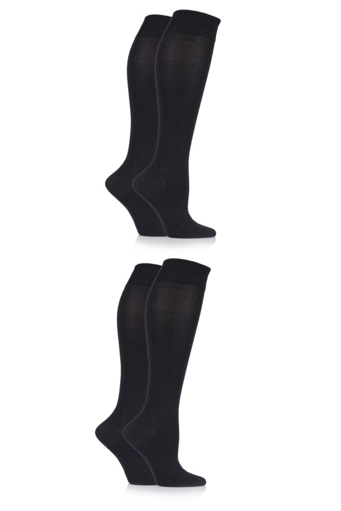 Ladies 4 Pair Sockshop Plain Bamboo Knee High Socks with Smooth Toe Seams