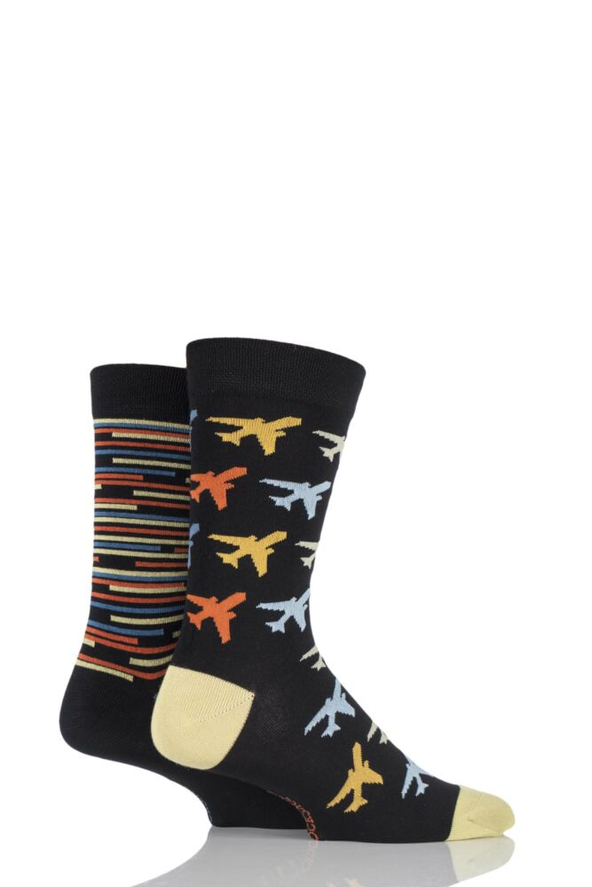 Mens 2 Pair Sockshop Planes Patterned and Striped Bamboo Socks