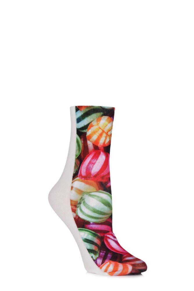 Ladies 1 Pair SockShop Dare to Wear Pixel Perfect Retro Candy Printed Socks