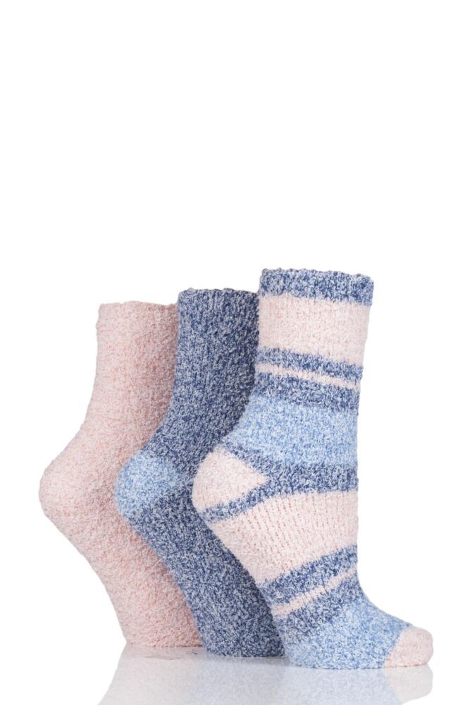 Ladies 3 Pair SockShop Plain and Striped Cosy Bed Socks