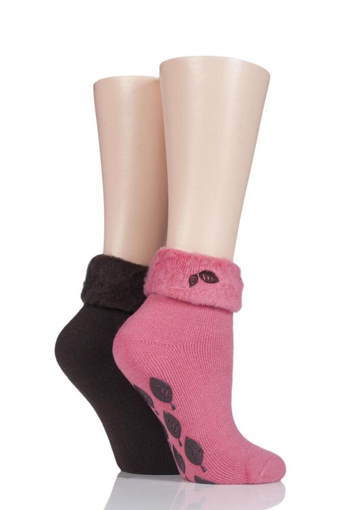 Ladies 2 Pair SockShop Thermal Home and Bed Socks