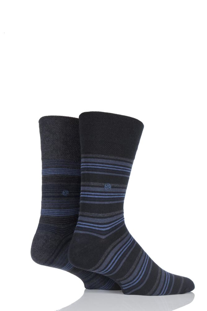 Mens 2 Pair SockShop Multi Striped Combed Cotton Socks In Navy