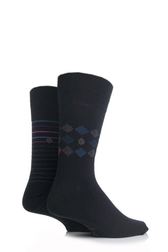 Mens 2 Pair SockShop Diamond and Striped Patterned Comfort Cuff Socks In Black