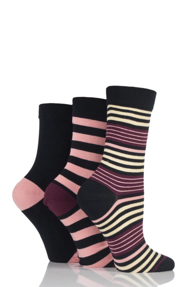 Ladies 3 Pair SockShop Comfort Cuff Bamboo Striped and Plain Socks