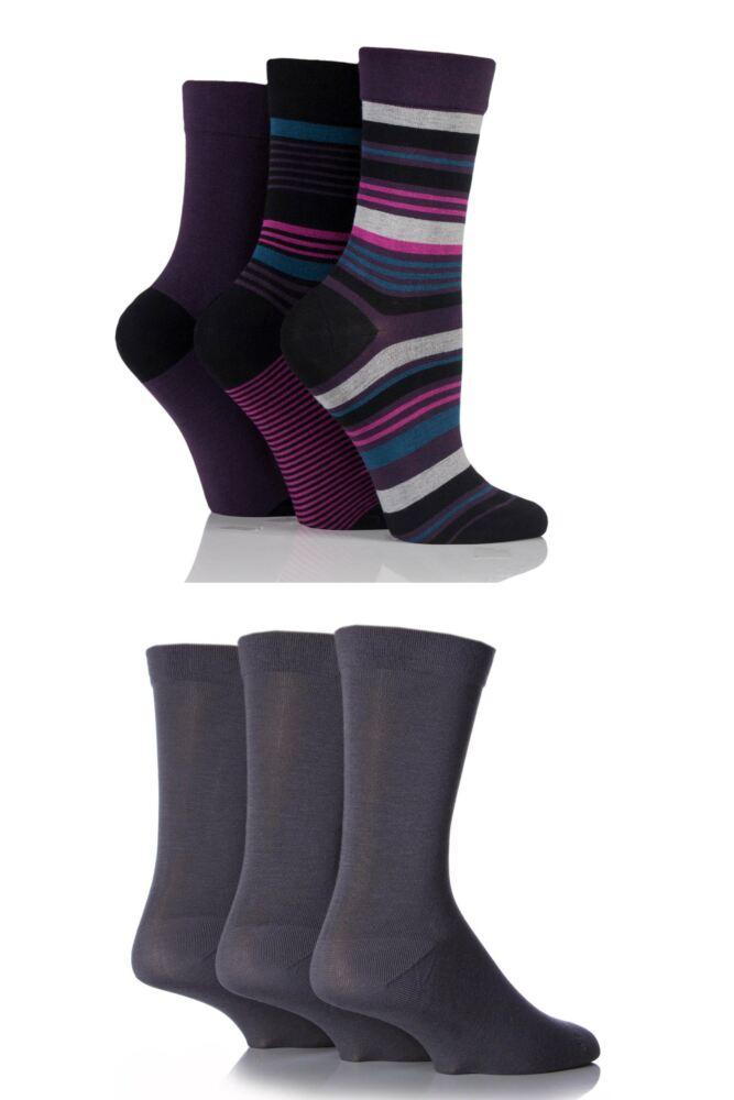 Ladies 6 Pair SockShop Comfort Cuff Bamboo Socks with Smooth Toe Seams
