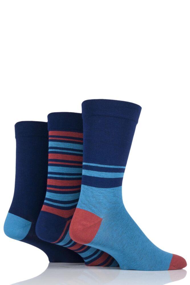 Mens 3 Pair SockShop Comfort Cuff Bamboo Striped and Plain Socks