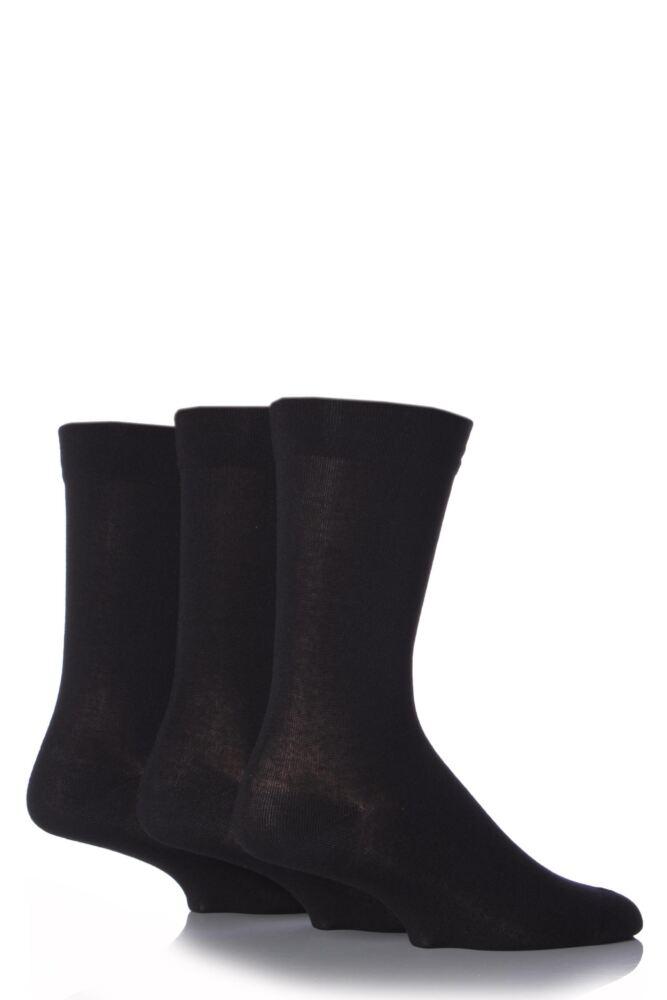Mens 3 Pair SockShop Comfort Cuff Plain Bamboo Socks with Smooth Toe Seams