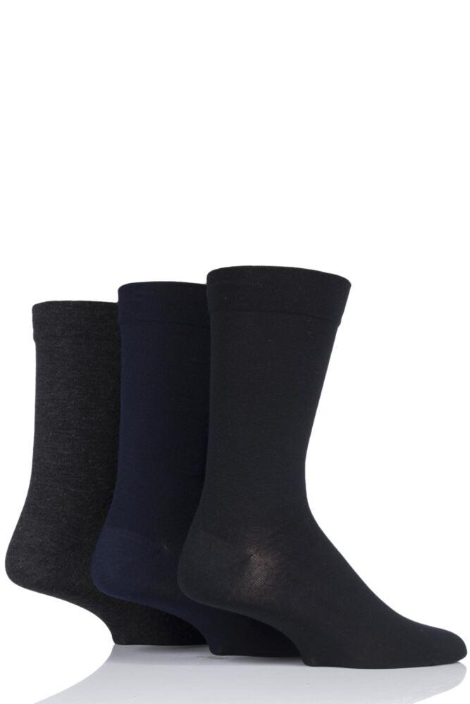 Mens 3 Pair SockShop Comfort Cuff Plain Gentle Bamboo Socks with Smooth Toe Seams