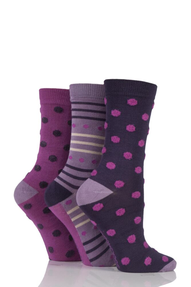 Ladies 3 Pair SockShop Feathered Spot Bamboo Socks In Gift Box